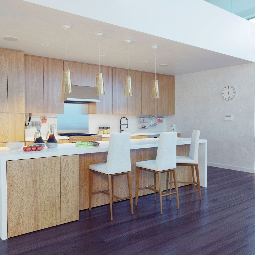 Calm White Modern Kitchen With Natural Wooden Shelves