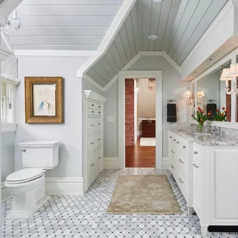 Calm White Traditional Bathroom With Stylish Flooring