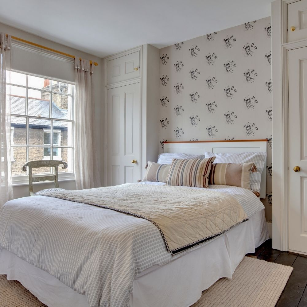 Calm White Traditional Bedroom With Bedside Closets