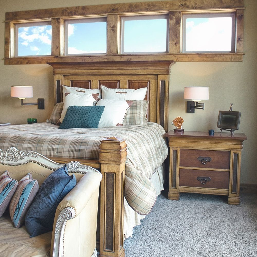 Country Bedroom With Traditional Wooden Bed