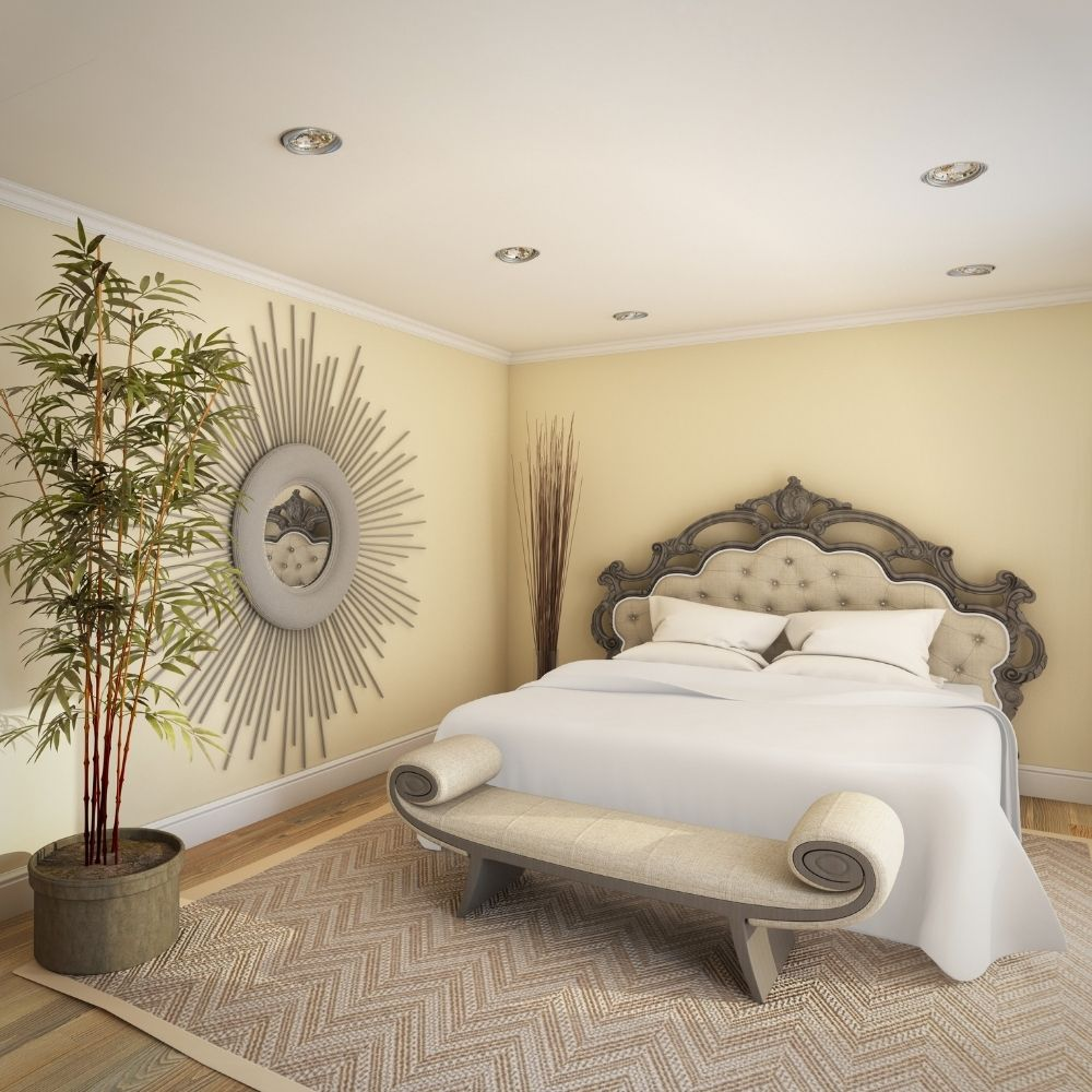 Luxurious Country Bedroom With Decorative Wall Mirror