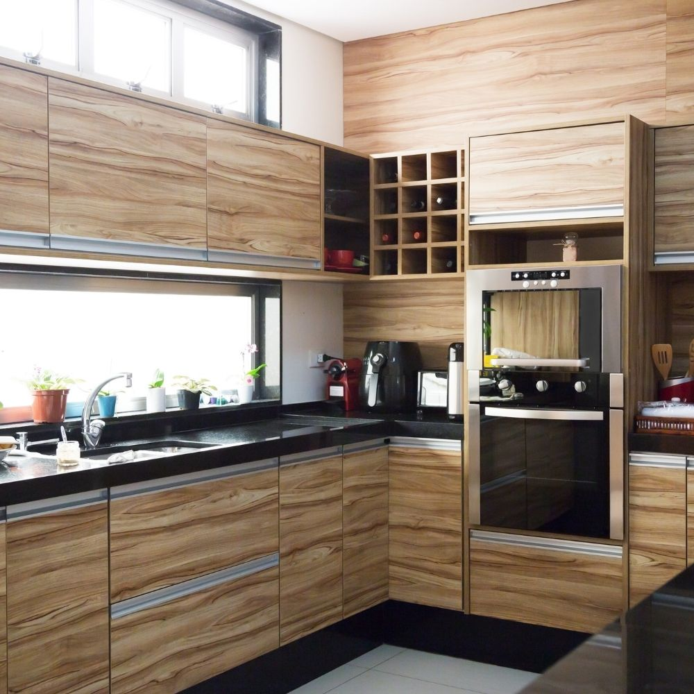 Modern Kitchen With Natural Wood