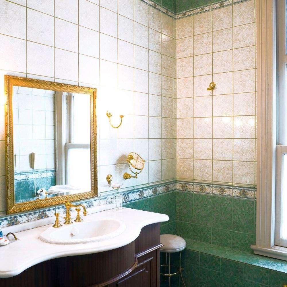 Narrow Elegant Traditional Bathroom With Sage Green Tiles