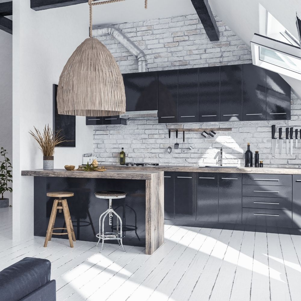 Rustic White Modern Kitchen With Black Shelves And Wood Countertop
