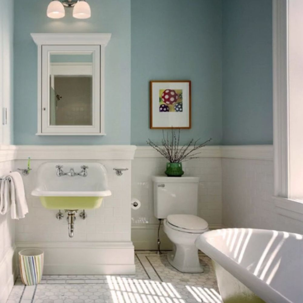 Traditional Bathroom With Pool Blue And Metro Tile Walls