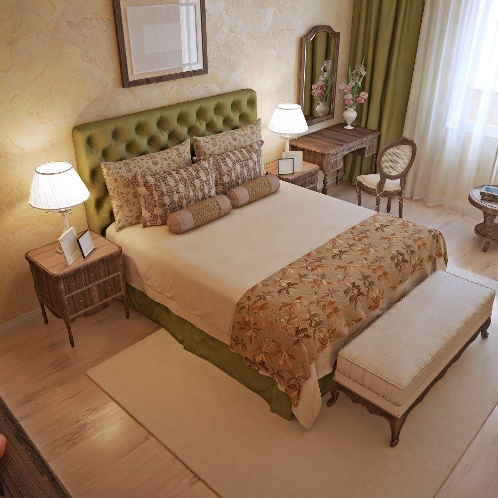 Traditional Rustic Beige Bedroom With Green Headboard