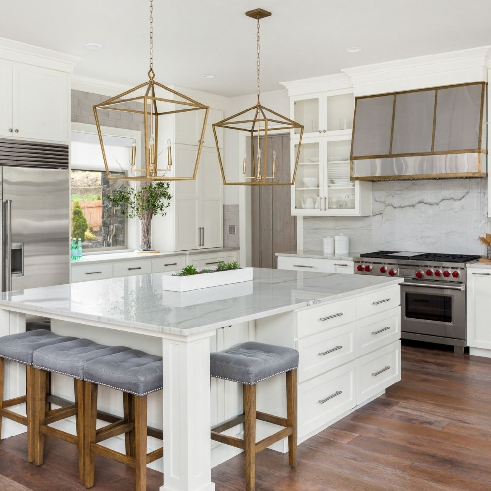 White Modern Kitchen With Marble Countertop