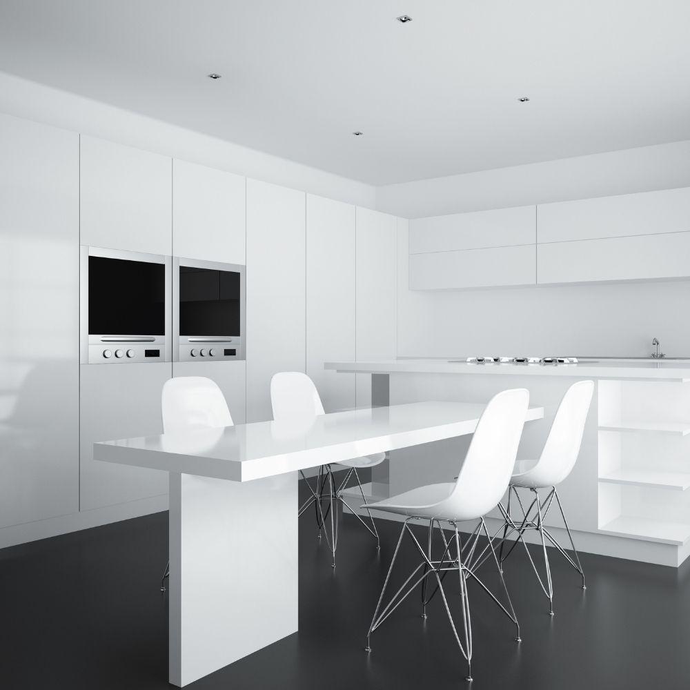 All White Modern Kitchen With Dark Gray Flooring