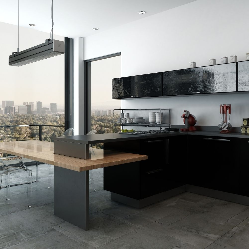 Black And White Modern Kitchen With Scenic View