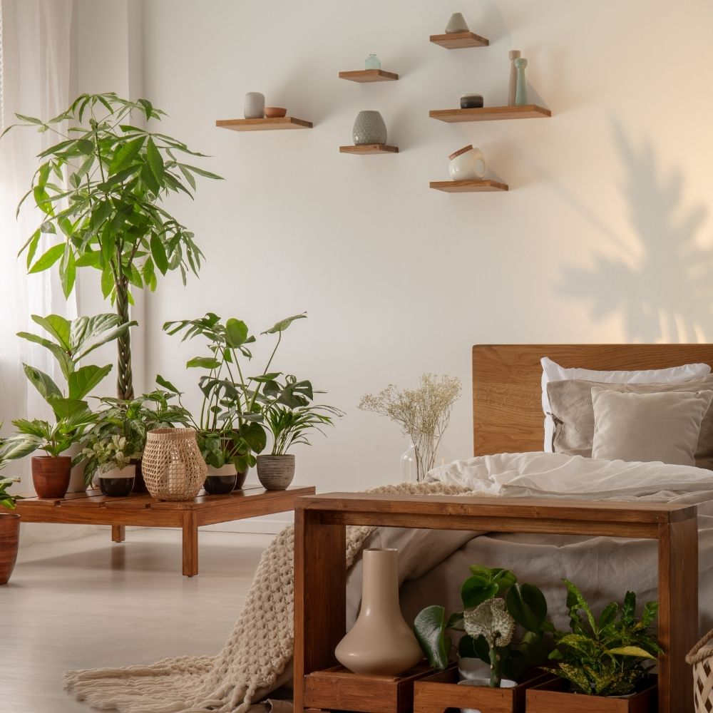 Botanical Bedroom With Natural Wood