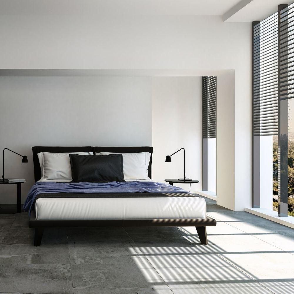 Calm White Bedroom With Ceiling To Floor Windows