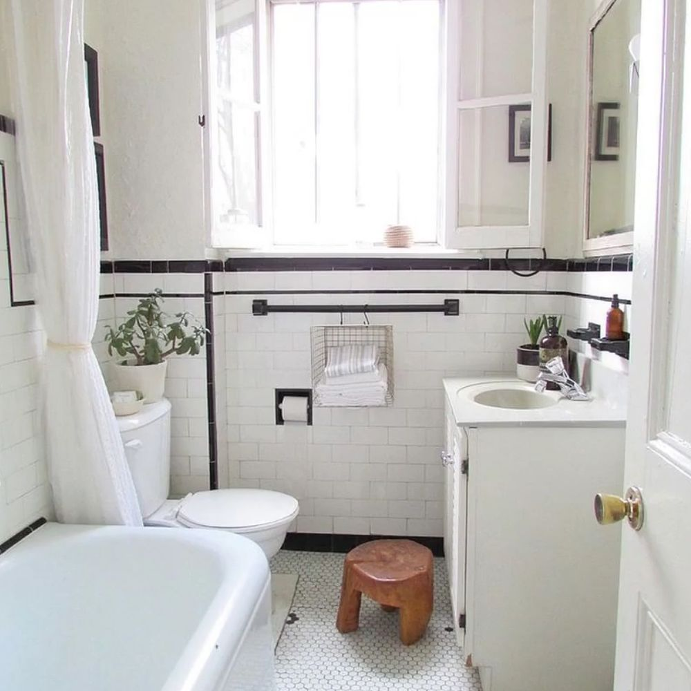 Compact White Country Bathroom With White Metro Tile Wall
