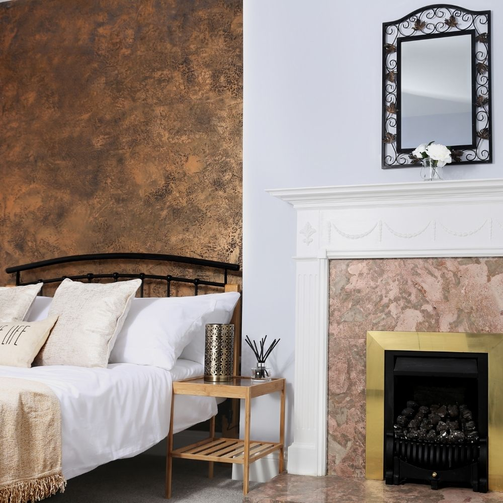 Copper Bedroom With Fireplace