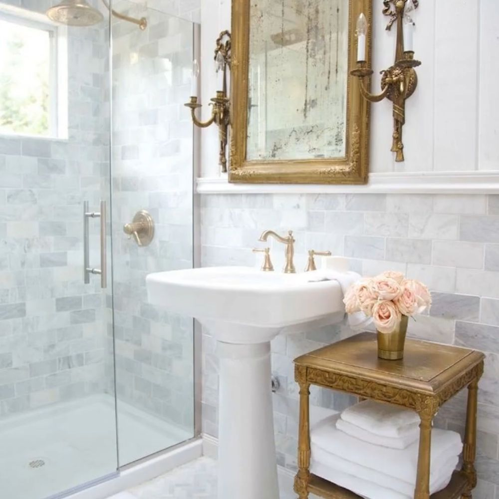Country Bathroom With Brass Details