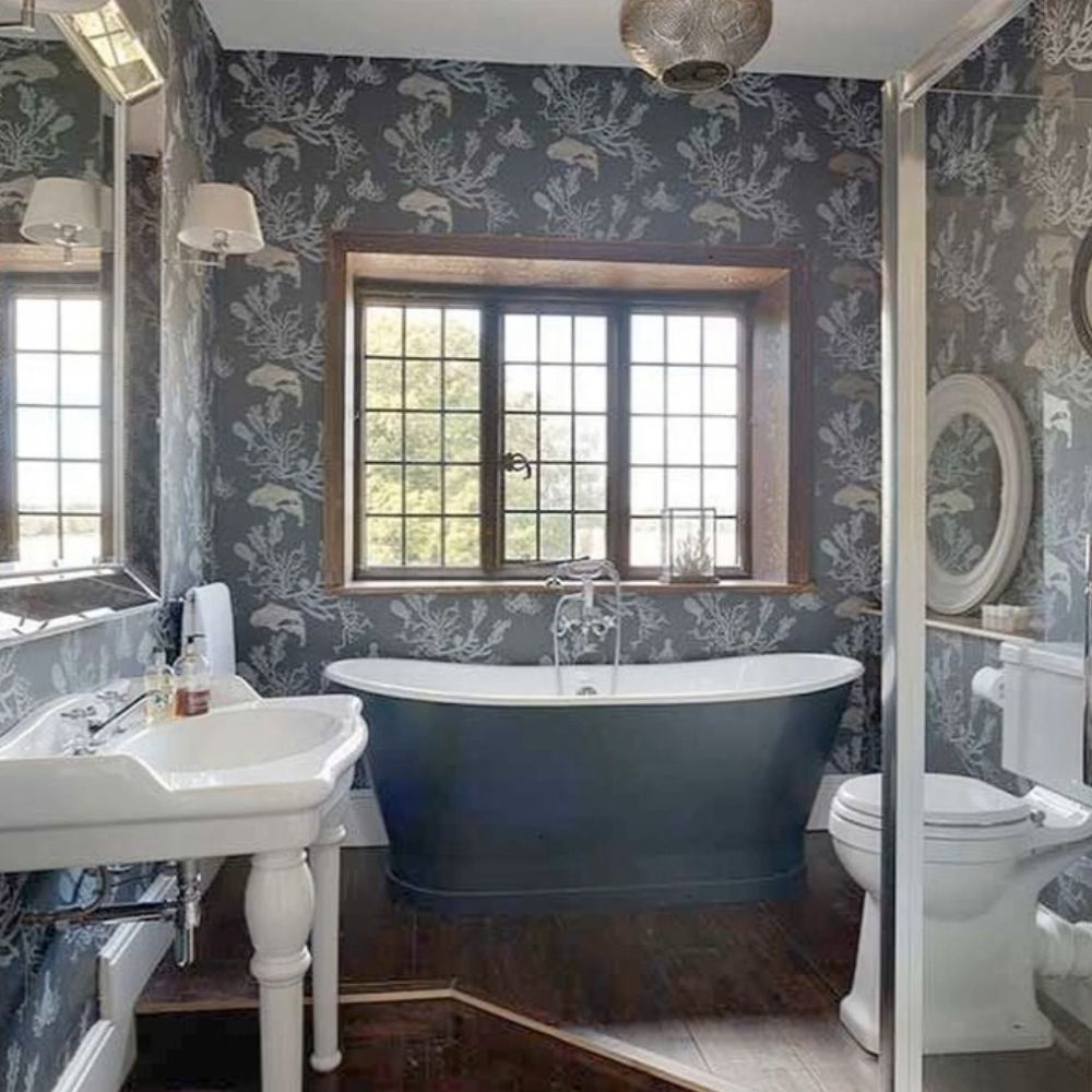 Country Bathroom With Creative Wall Design And Free Standing Bath Tub