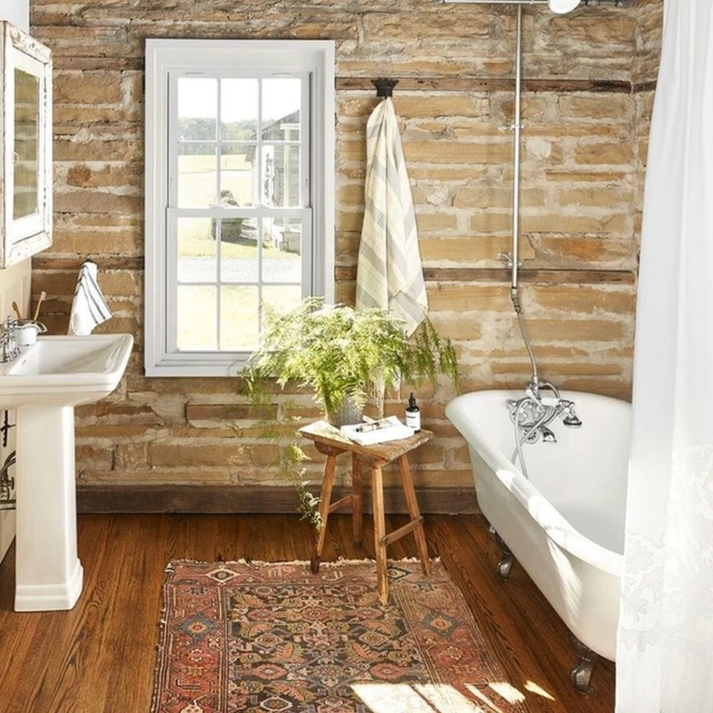 Country Bathroom With Free Standing Claw Foot Bath
