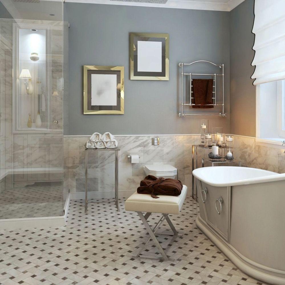 Elegant Country Bathroom With Grey Wall And Creative Bathroom Floor