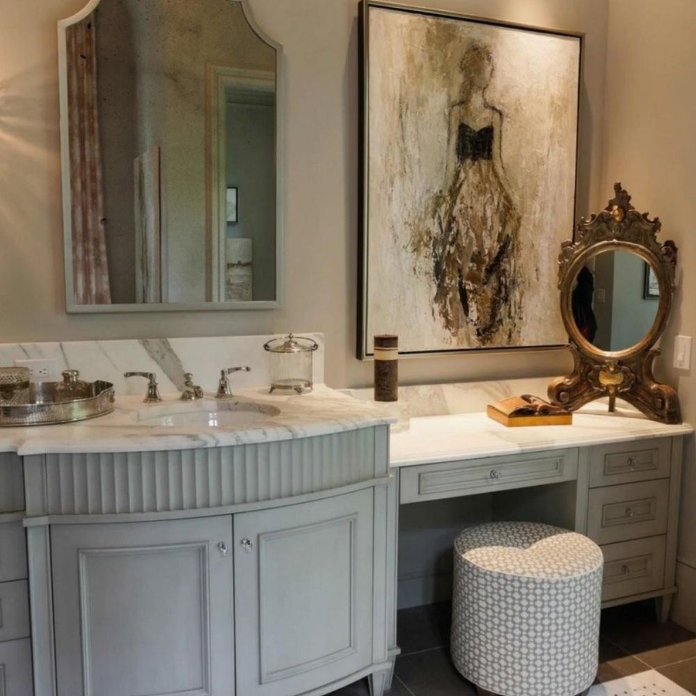 Elegant Country Bathroom With Wall Art