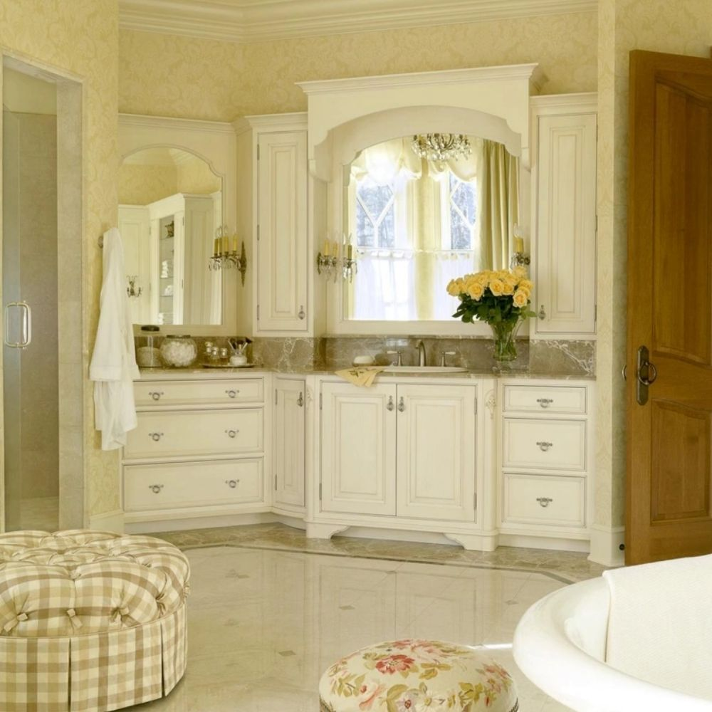 Luxurious Country Bathroom With Wall Mirrors And Elegant Cabinets Wall And Flooring