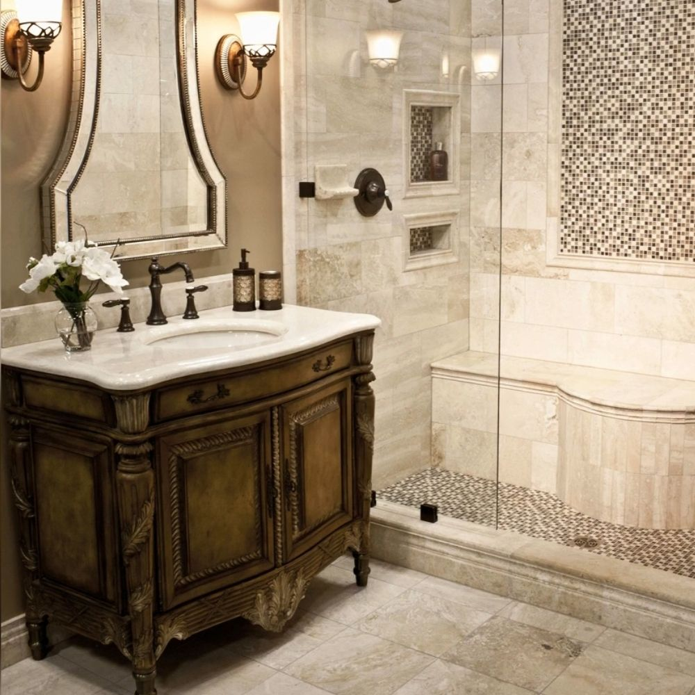 Luxurious Traditional Bathroom With Mosaic Tile Walls And Flooring