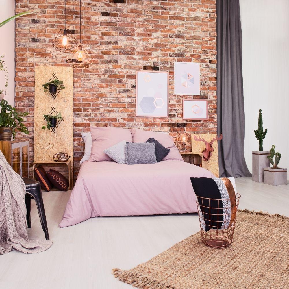 Modern Bedroom With Brick Walls