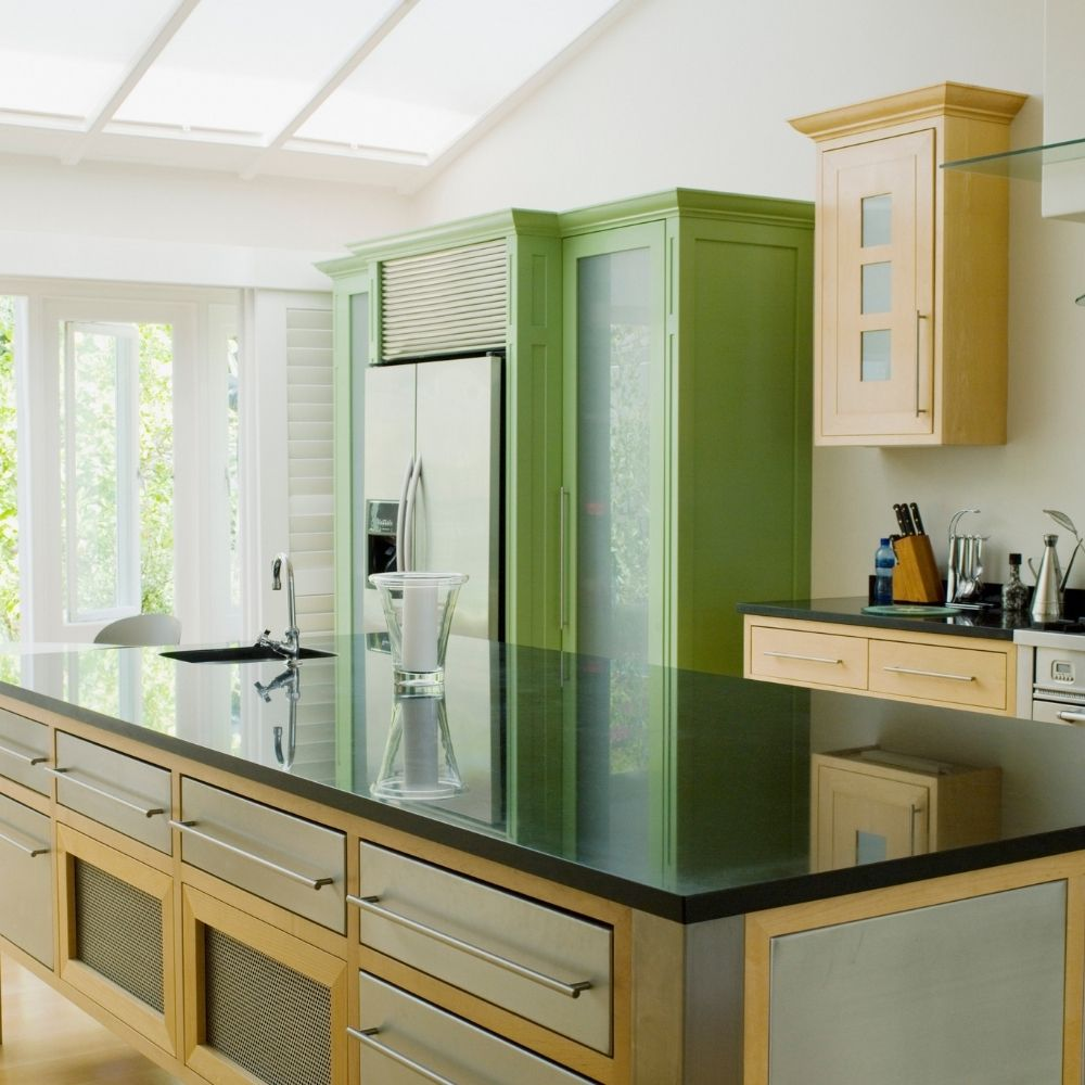 Modern Kitchen With Mint Green Cabinet