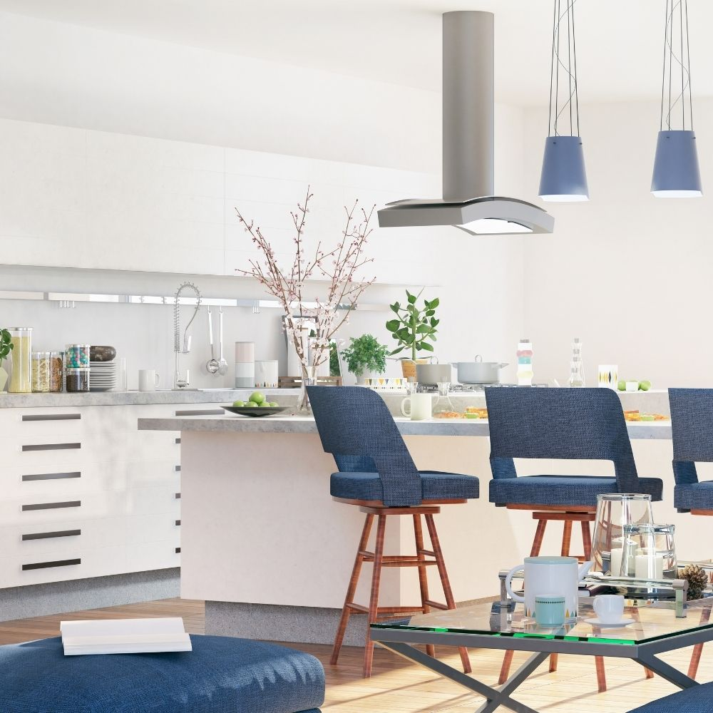 Modern Kitchen With Navy Blue Bar Stools