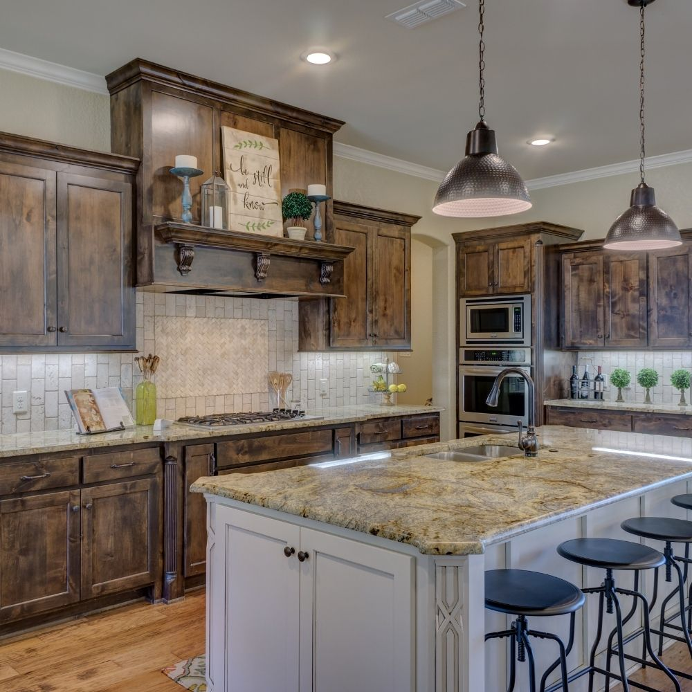 Modern Kitchen With Rustic Tiles And Marble Countertop