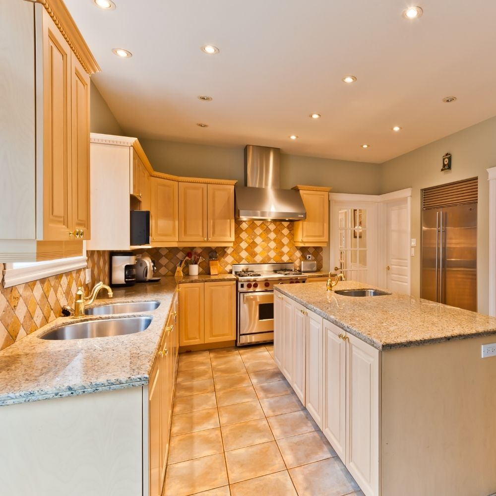 Modern Kitchen With Warm Wood Shelves