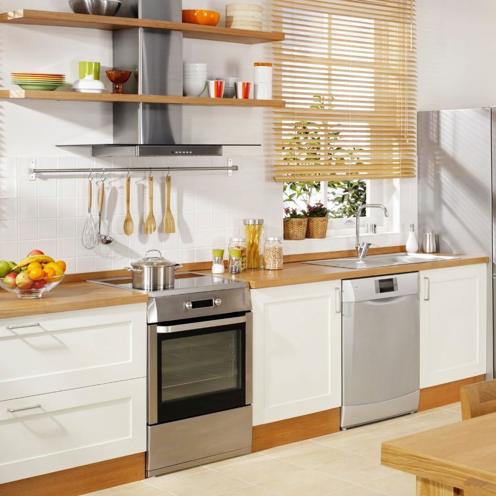 Modern Kitchen With White And Wood Accents