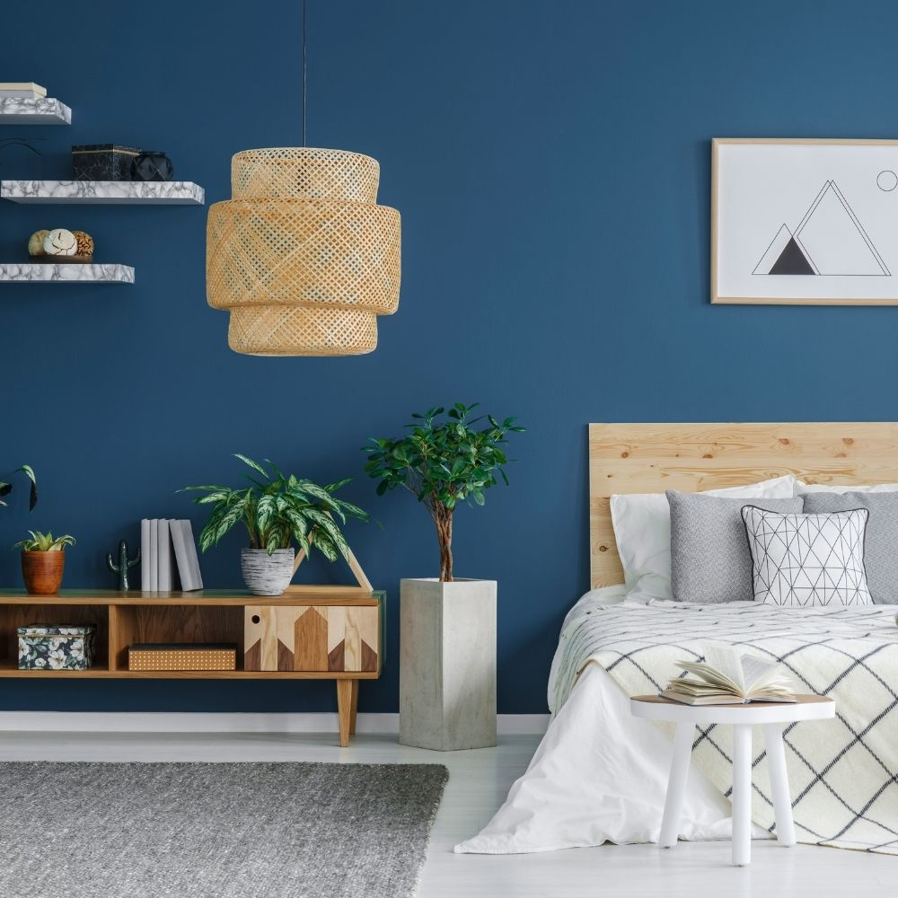 Navy Blue Bedroom With Natural Wood