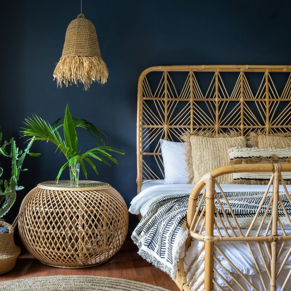 Navy Blue Traditional Bedroom With Natural Bamboo