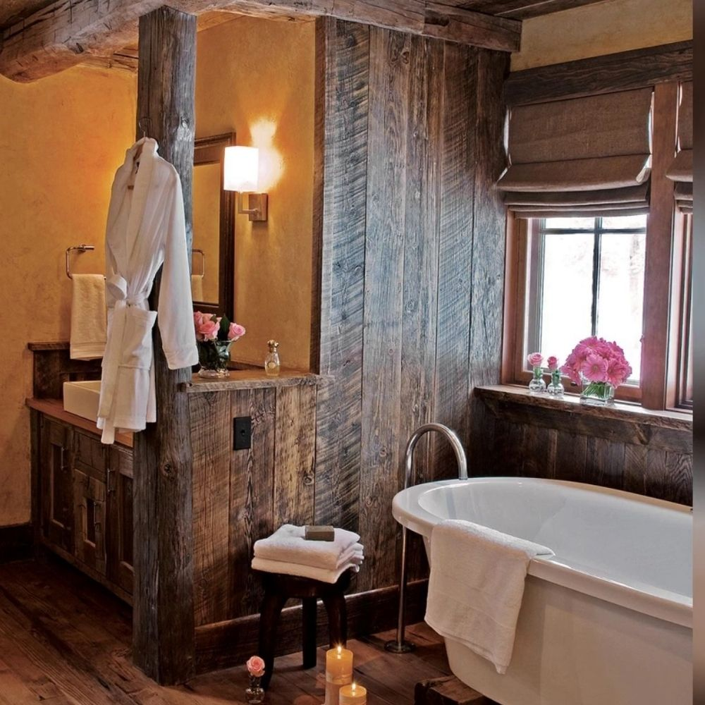Rustic Bathroom With Wood Panels And Exposed Wood Beams
