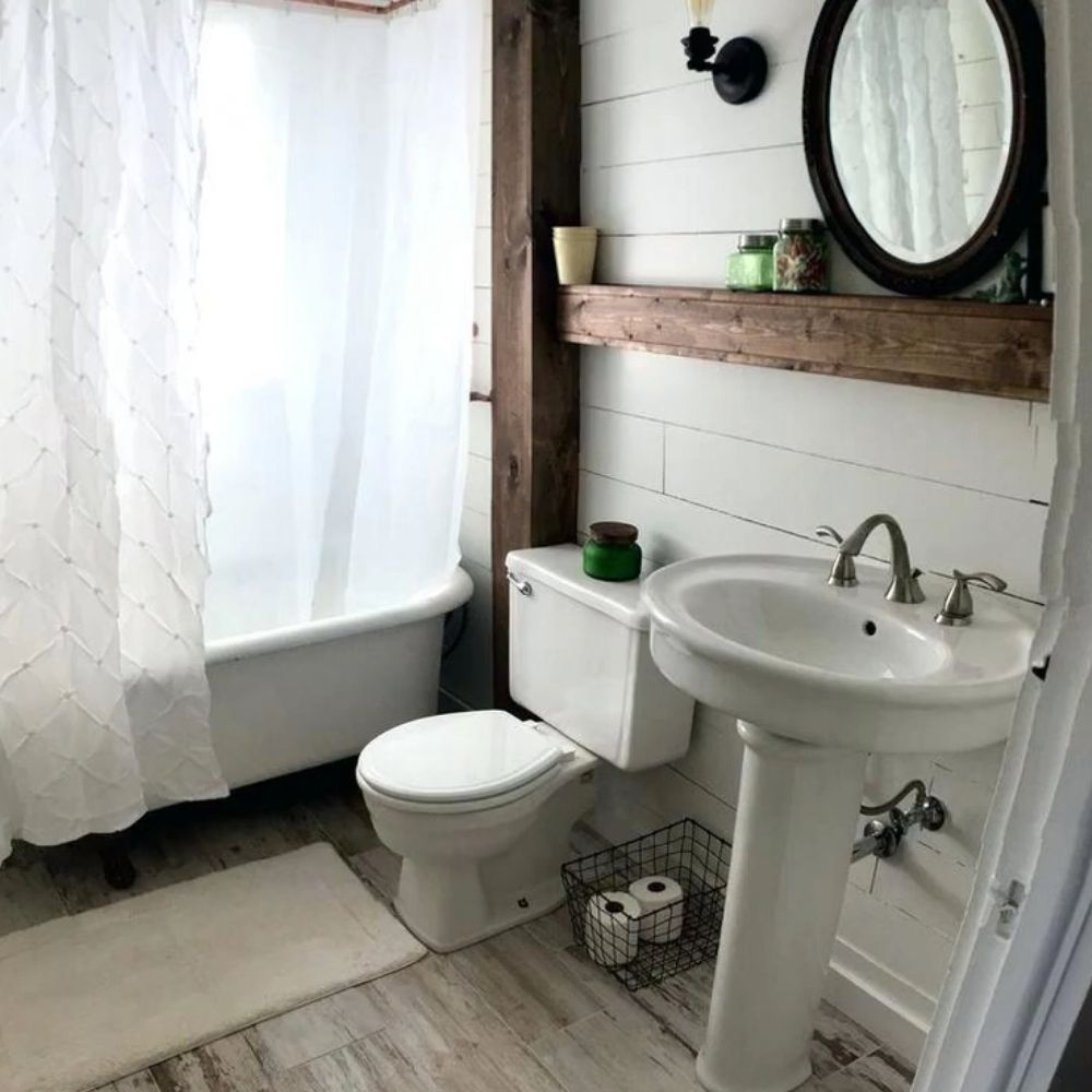 Rustic White Country Bathroom With Exposed Wood Beams