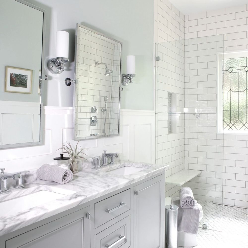 Traditional Bathroom With Granite Sink And Metro Tile Walls