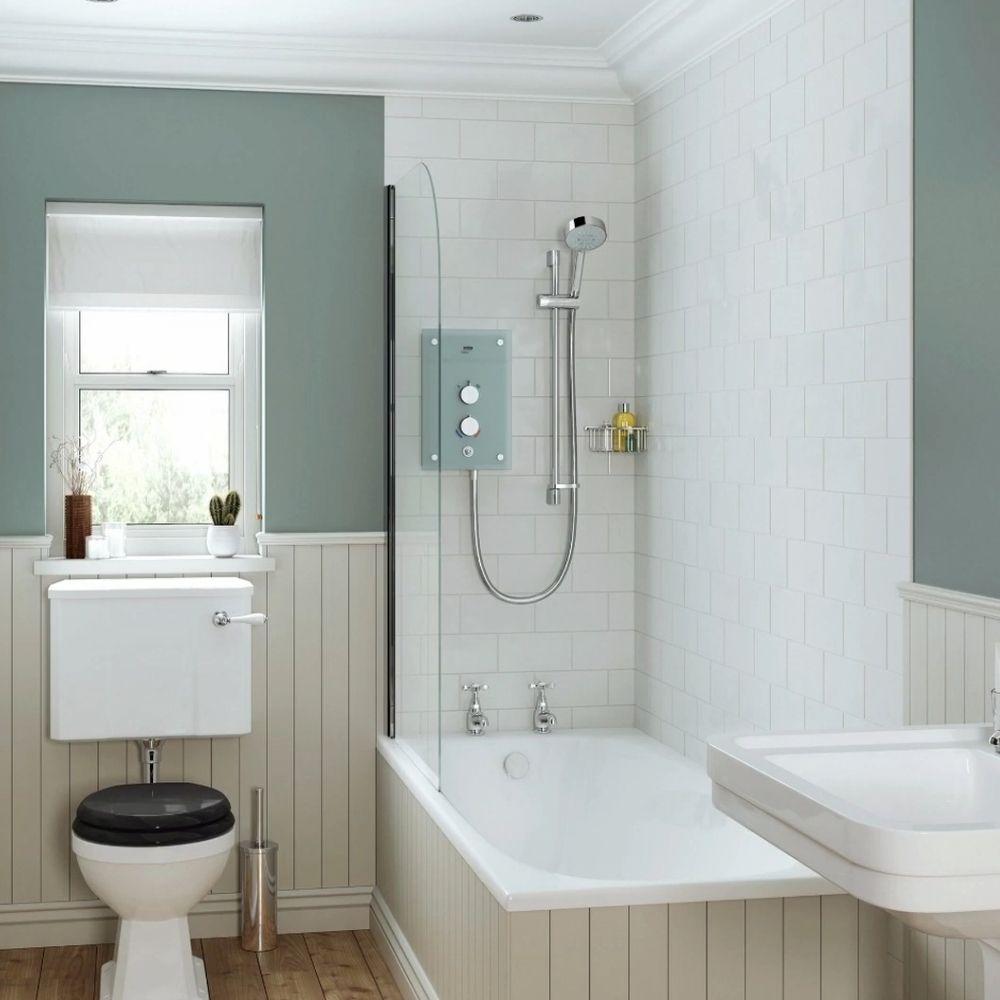 Traditional Bathroom With Metro Tiles And Wood Panel Walls
