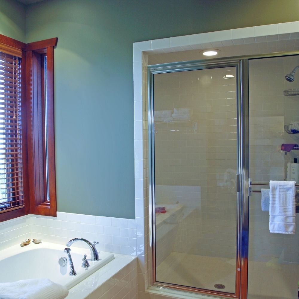 Traditional Bathroom With Sage Green Wallpaper