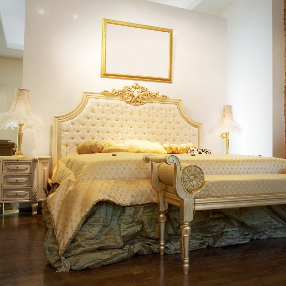 Traditional Luxurious Bedroom With Gold Accents