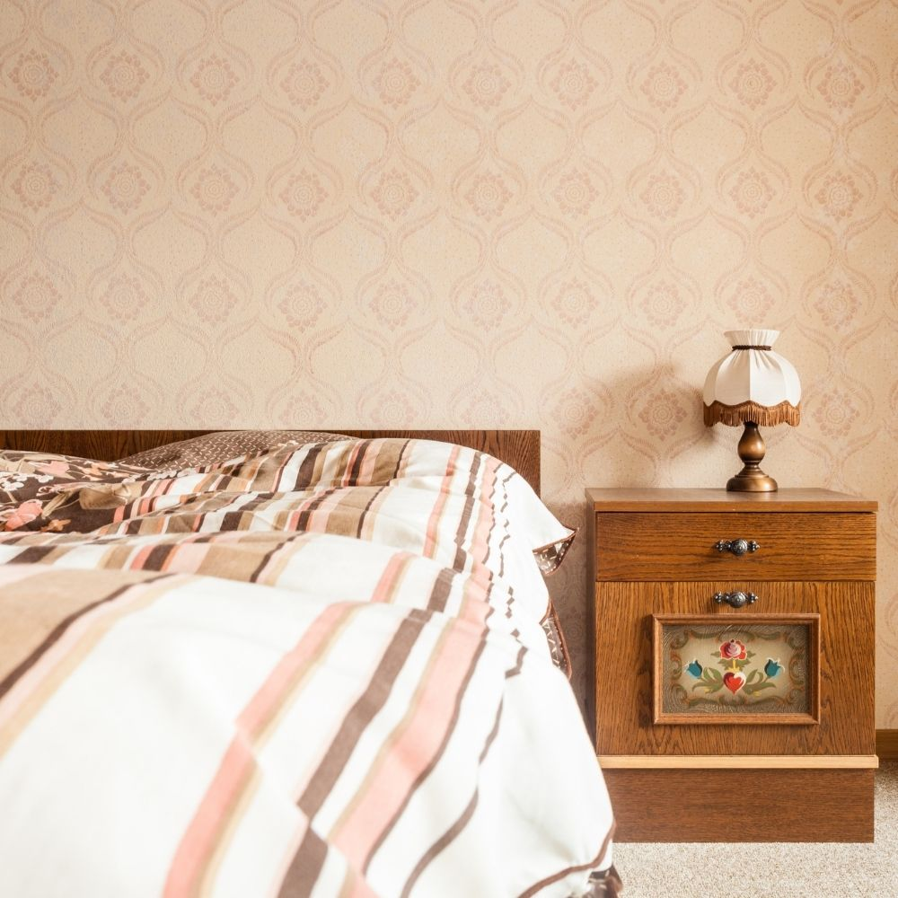Traditional Warm Bedroom With Decorative Wallpaper