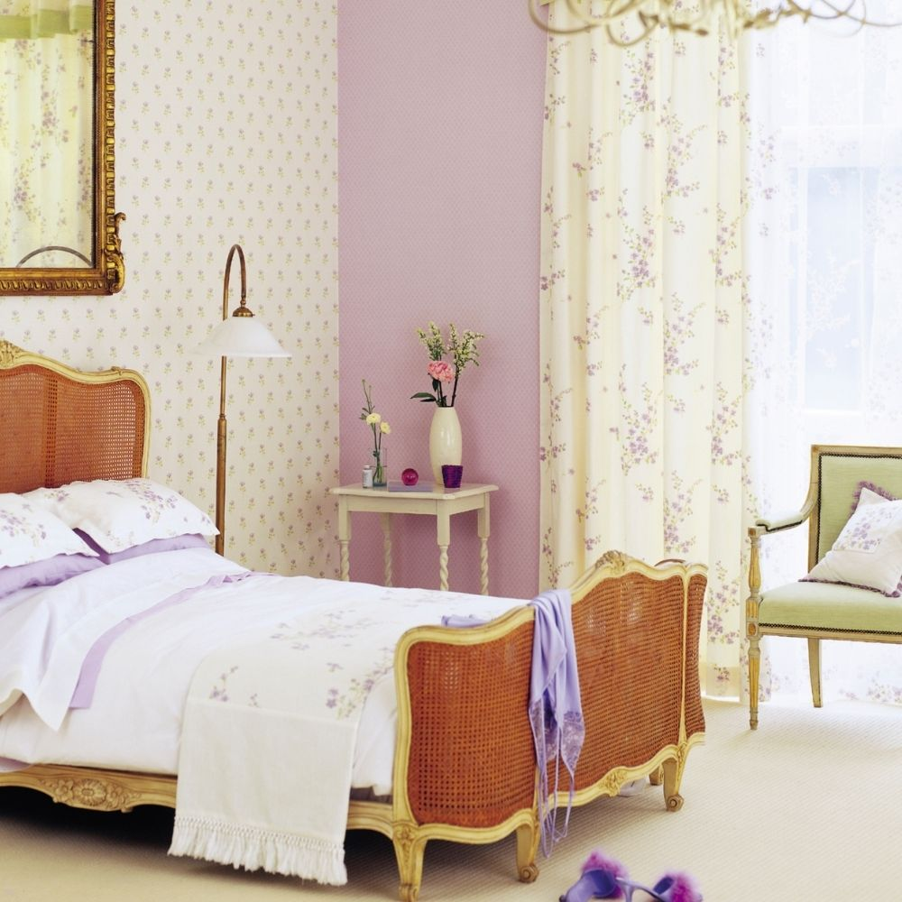 Traditional White And Lavender Bedroom