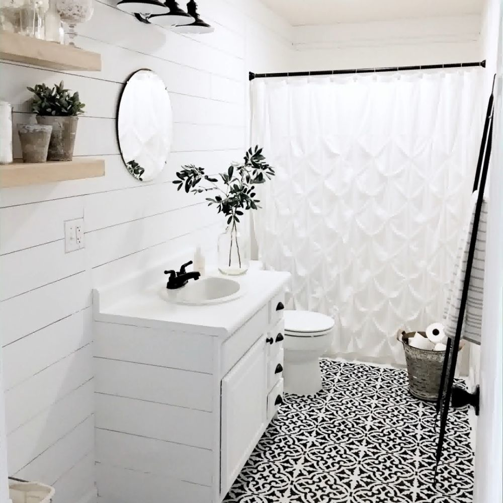 White Country Bathroom With Black Details And Creative Bathroom Floor