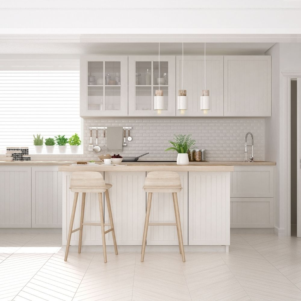 White Modern Kitchen With Wood Countertop