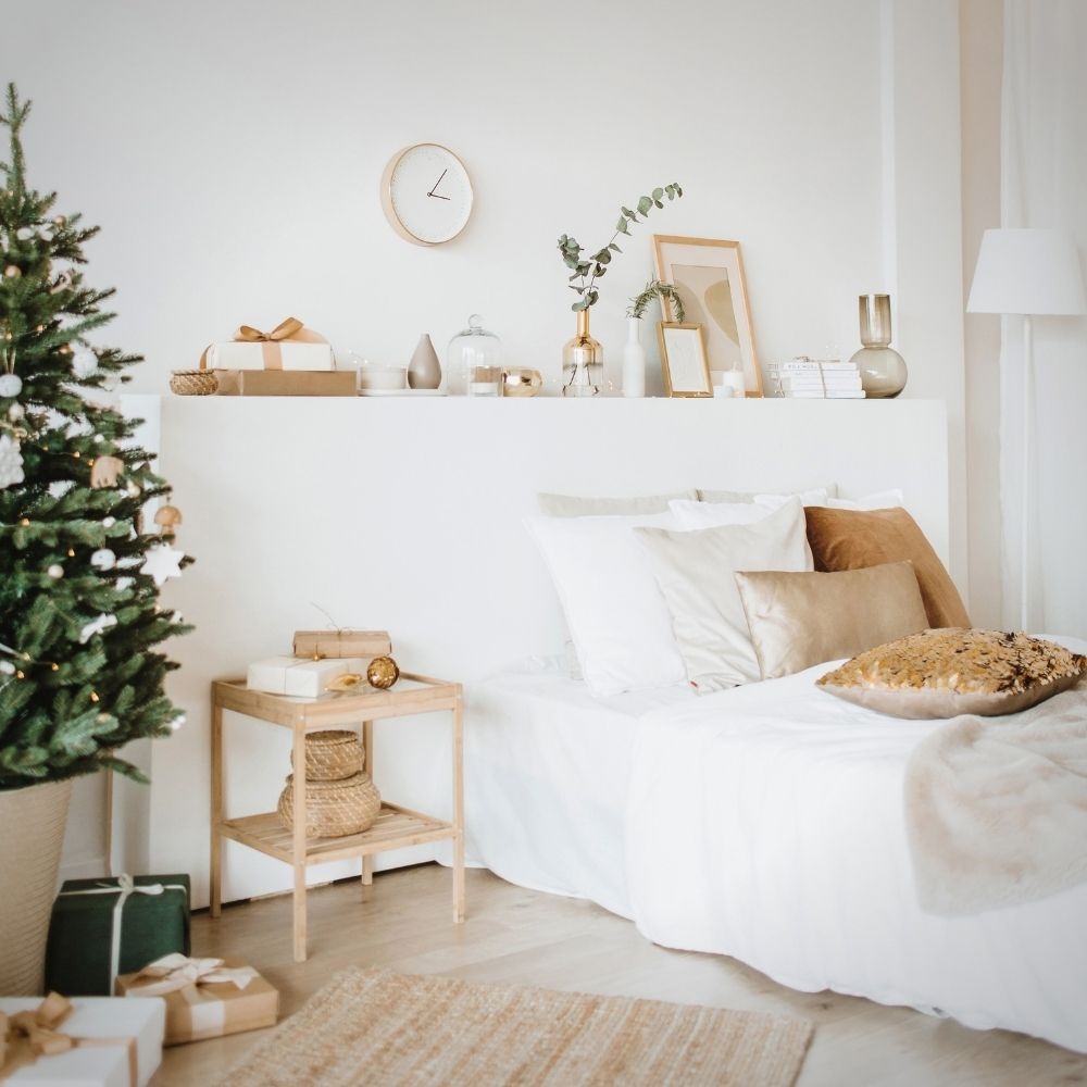 White Traditional Bedroom With Decorations And Brown Accents