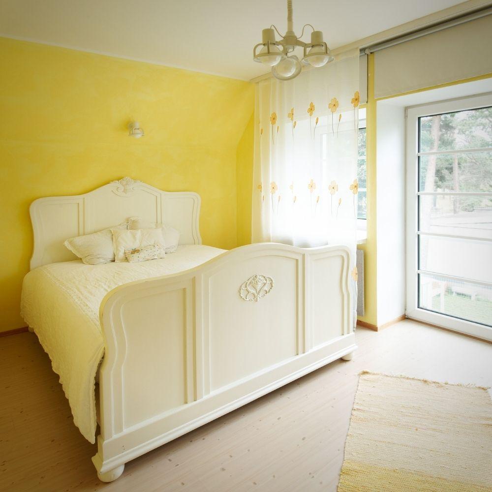 Yellow Wallpaper Country Bedroom